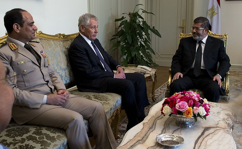 SD Chuck Hagel meets with President Mohamed Morsy in Cairo, Egypt, April 24, 2013 (cropped)