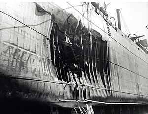 HMCS Quesnel - Image: SS Fort Camosun torpedo damage