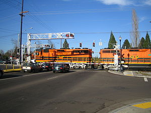 Portland and Western Railroad - Two standard-fare Portland and Western locomotives in Beaverton, Oregon.