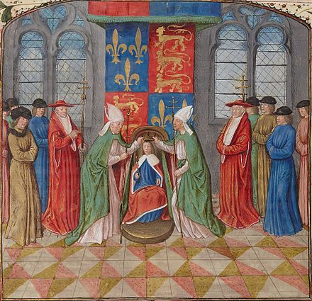 Henry VI of England's coronation as King of France, aged ten, during the Hundred Years' War. Sacre Henry6 England-France 02.jpg