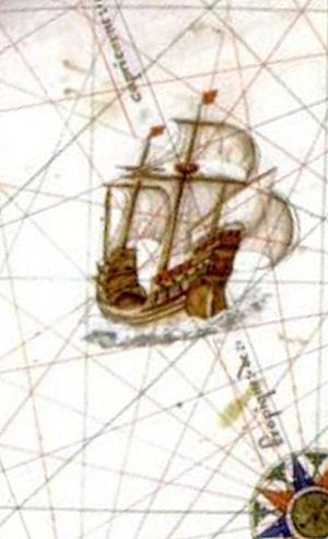 Jean Parmentier (explorer) - Sailing ship near Java la Grande in Vallard Atlas 1547, Dieppe school.