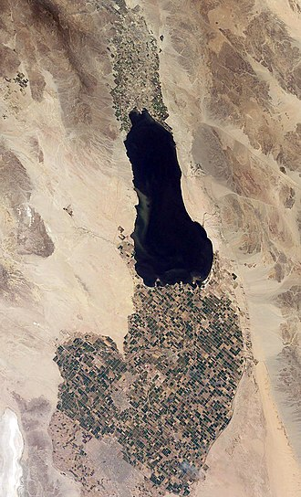 Imperial Valley - The Imperial Valley below the Salton Sea. The US-Mexican border is a diagonal line in the lower left of the image.