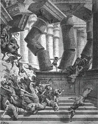 Samson and Delilah (opera) - Samson destroys the Temple of Dagon (Gustave Doré, ca. 1860)