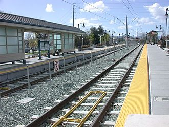 San Fernando station - San Fernando Light Rail Station - looking west along the platforms