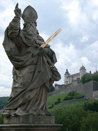 Saint Kilian - Statue of Saint Kilian (with Fortress Marienberg in the background)