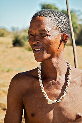 Hunter-gatherer - A San man from Namibia. Many San still live as hunter-gatherers.