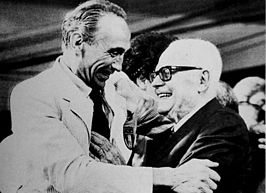 Enzo Bearzot (links) met Sandro Pertini