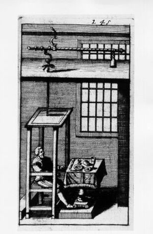 History of biochemistry - Santorio Santorio in his steelyard balance, from Ars de statica medecina, first published 1614