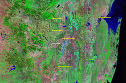 Satellite image of Eswatini with borders and labeling (false color photography).png