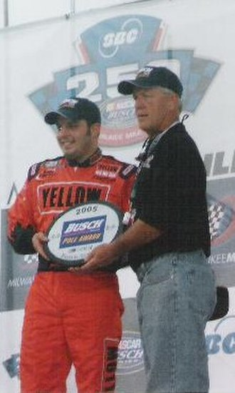 Johnny Sauter - Sauter receiving the Busch Pole Award for the 2005 SBC 250, a race which he would later win.