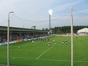Kymenlaakson Sähkö Stadion - Image: Saviniemen jalkapallostadion 1