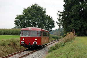 Grafing–Wasserburg railway - Railbus between Brandstätt and Edling