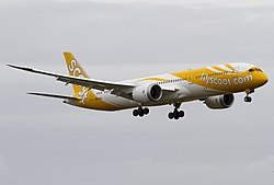 Scoot Boeing 787 on finals at Singapore Changi Airport.jpg