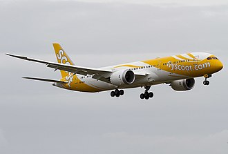 Scoot - Scoot's first Boeing 787-9 Dreamliner, nicknamed Dream Start (9V-OJA), on final approach at Singapore Changi Airport on its delivery flight