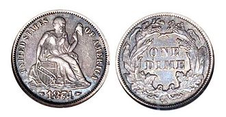 Dime (United States coin) - 1874 cc Seated Liberty dime, with arrows