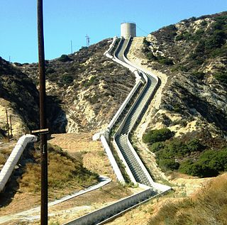 Los Angeles Aqueduct canal in Los Angeles County, California, United States of America