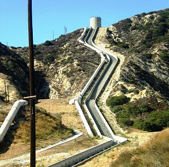 California water wars - Terminus of the Second Los Angeles Aqueduct, near Sylmar.