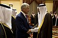 Secretary of Defense Chuck Hagel shakes hands with Crown Prince and Minister of Defense Salman bin Abdulaziz al Saud, before a meeting in Riyadh, Saudi Arabia, April 23, 2013.jpg