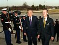 Secretary of Defense William S. Cohen escorts President Heydar Aliyev, of the Azerbaijani Republic, through an honor cordon and into the Pentagon on Feb. 24, 2000.jpg