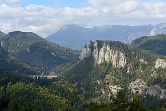 Semmering railway - Semmering railway with  surrounding mountain scenery