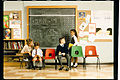 Series E chair in a classroom, Robin Day, Hille, 1971.jpg