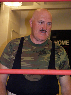 Sgt. Slaughter - Slaughter in a 2009 match without his trademark hat and glasses
