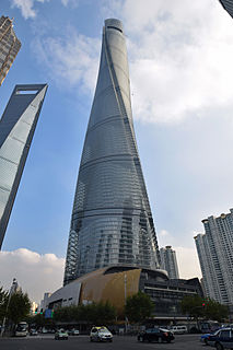 Shanghai Tower megatall skyscraper in Lujiazui, Shanghai, China