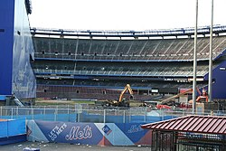 Top photo  close-up view of the stadium during demolition. Bottom photo   demolition as viewed from the IRT Flushing Line with Citi Field visible in  the ... 8d172e9e7