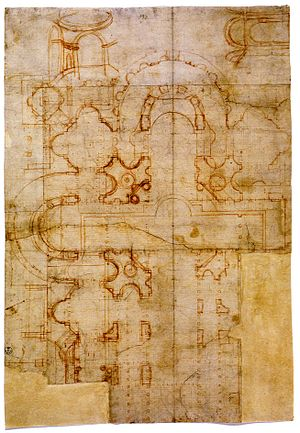 Donato Bramante - A draft for St Peter's superimposed over a plan of the ancient basilica