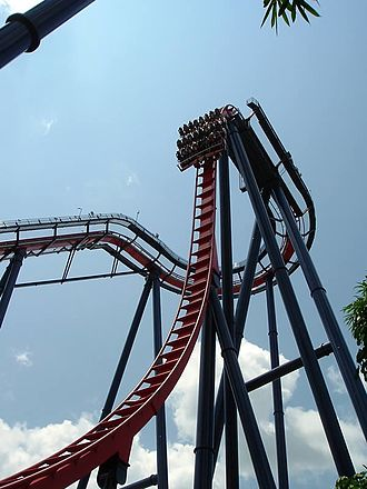 Busch Gardens Tampa - SheiKra, the first Dive Coaster in North America, seen descending its first drop