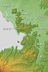 Shizuura Mountains Relief Map, SRTM-1 (Japanese).jpg
