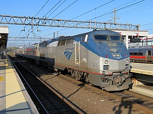 Shore Line East train at New Haven Union Station, September 2018.JPG