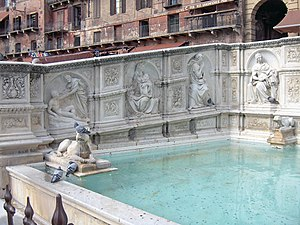 Left side of the Fonte Gaia, with Creation of ...