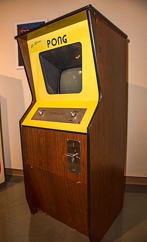Pong - An upright cabinet of Pong on display at the Neville Public Museum of Brown County