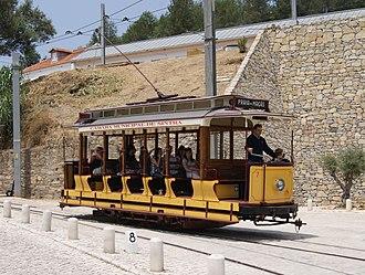 Trams in Sintra - Sintra open tram 7 leaving Nunes de Carvalho, bound for Praia das Maçãs