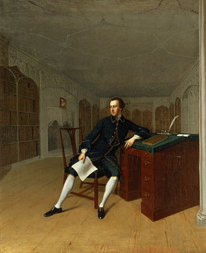 Roger Newdigate - Sir Roger Newdigate in the Library at Arbury by Arthur Devis