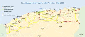 Transport in Algeria - Situation of Algerian highways network in May 2015.