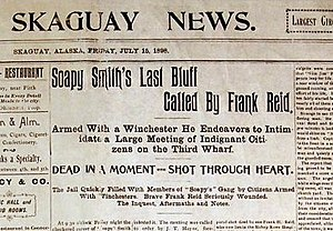 Shootout on Juneau Wharf - Newspaper headline of the fight
