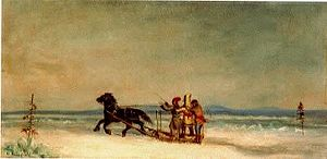 English: Sleigh Ride, oil painting by Corneliu...