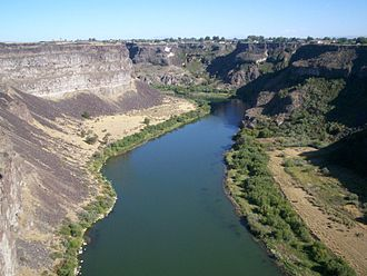 Snake River Plain - The Snake River cutting through the plain leaves many canyons and gorges, such as this one near Twin Falls, Idaho