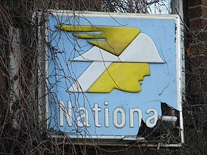 National Benzole - Mr Mercury sign of a former National petrol station at Friskney, Lincolnshire