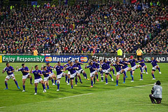 Siva Tau - Samoan team performing Siva Tau before the game against South Africa during the 2011 Rugby World Cup.