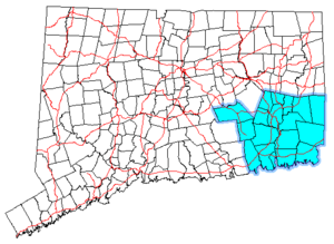 Southeastern Connecticut - Map of Connecticut showing the Southeastern Connecticut region