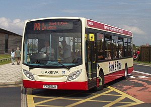 Bus transport in the United Kingdom - A park and ride bus in Southport, operated by Arriva North West & Wales in a dedicated scheme livery