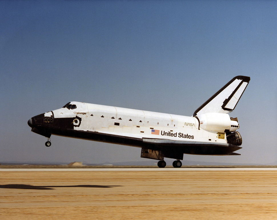 File:Space Shuttle Challenger lands for the first time ...