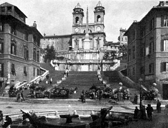 Wilhelm Lübke - The Spanish Steps in Rome around 1900. Book illustration from Wilhelm Lübke's Grundriß der Kunstgeschicte (14th edition, with contributions from Max Semrau.) Paul Neff Verlag. Berlin 1908.
