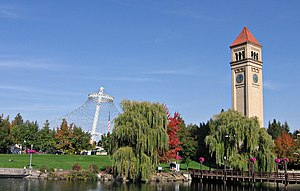 Downtown Spokane - The Great Northern clock tower and U.S. Pavilion in Riverfront Park