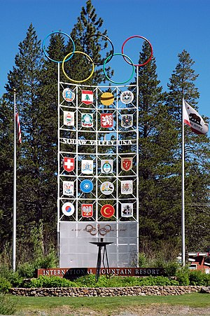 Squaw Valley, Placer County, California - Sign at entrance to Squaw Valley