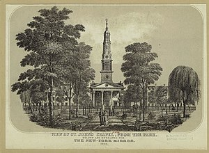 St. John's Chapel (New York City) - An engraving of the chapel in The New-York Mirror from 1829.