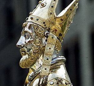 History of Belgium - Saint Servatius, bishop of Tongeren and one of the first known Christian figures in the region. 16th century reliquary.